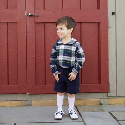 Nantucket Kids Baby / Toddler Boys Navy Blue / Green Plaid Brooks Button On