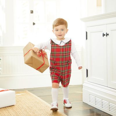 Nantucket Kids Baby / Toddler Boys Red Royal Tartan Plaid Kennedy Jon Jon