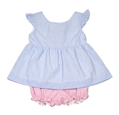 Nantucket Kids Baby / Toddler Girls Blue Seersucker / Pink Peony Bloomers Set - Bows on the Back!