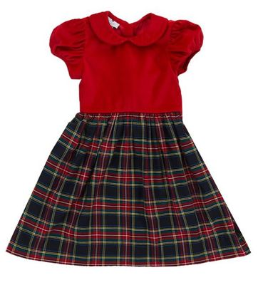 Nantucket Kids Girls Navy Blue / Red Stewart Tartan Dress with Velveteen Bodice