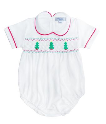 Nella Pima Baby Boys White Smocked Christmas Trees Bubble