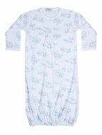 Nella Pima Cotton Baby Boys Gown - Blue Toile