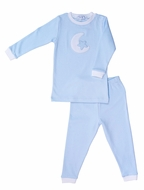 Nella Pima Cotton Moon & Star Pajamas - Blue