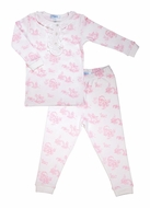 Nella Pima Girls Cotton Toile Ruffle Pajamas - Pink
