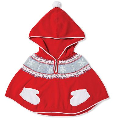 Angel Dear Baby / Toddler Girls Red Snowflake Poncho Cape