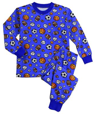 Sara's Prints Boys Blue Sports Balls Long Pajamas