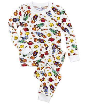 Sara's Prints Boys White Waffle Space / Planets Long Pajamas