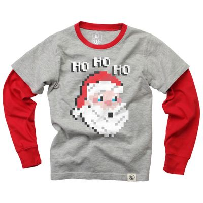 Wes & Willy Boys Gray / Red Pixilated Santa Shirt