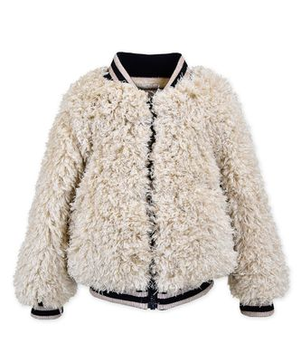 Widgeon Girls Shaggy Faux Fur Varsity Jacket Coat