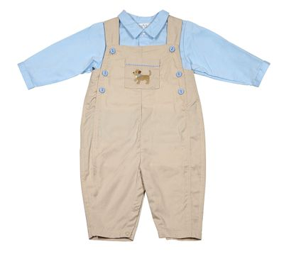 Petit Ami Baby Boys Tan Longall with Blue Shirt - Puppy Dog