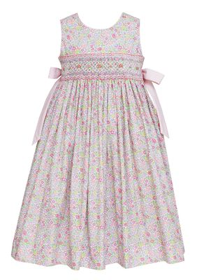 Claire & Charlie Girls Pink Floral Smocked Dress - Bows on Sides