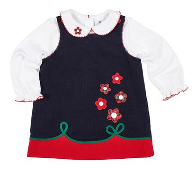 Florence Eiseman Girls Navy Blue Corduroy Jumper Dress - Flowers - Includes Blouse with Flower Detail