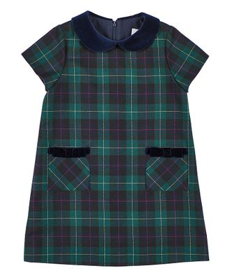 Florence Eiseman Girls Green / Navy Blue Blackwatch Plaid Dress - Velvet Collar