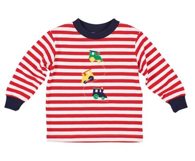 Florence Eiseman Baby / Toddler Boys Red Candy Cane Stripe Shirt with Trains