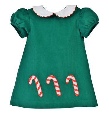 Funtasia Baby / Toddler Girls Green Corduroy Candy Canes Float Dress