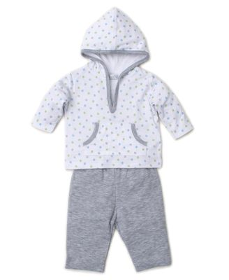 Kissy Kissy Baby Boys Gray Dapple Dots Pant Set with Hoodie