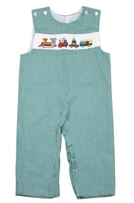The Best Dressed Child Baby / Toddler Boys Green Check Smocked Christmas Train Longall