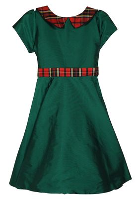 Susanne Lively Girls Emerald Green Christmas Dress - Red Holiday Plaid Tie and Collar