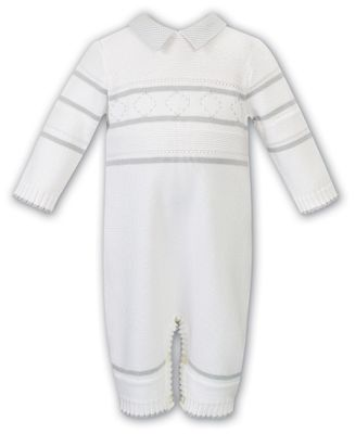 Sarah Louise Baby Boys Ivory / Gray Sweater Knit Romper - Gray Collar