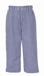 Anavini Toddler Boys Pull On Pants - Navy Blue Gingham Check