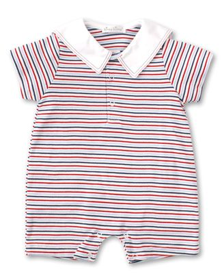 Kissy Kissy Baby Boys Navy Blue / Red Stripe Seaside Surprise Playsuit - Embroidered Sailor Collar