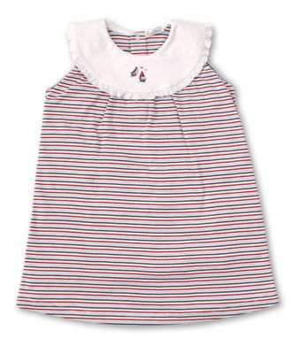 Kissy Kissy Toddler Girls Red / Navy Blue Stripe Seaside Surprise Sleeveless Dress