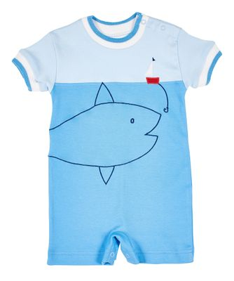 Florence Eiseman Baby Boys Blue Big Fish and Boat Romper