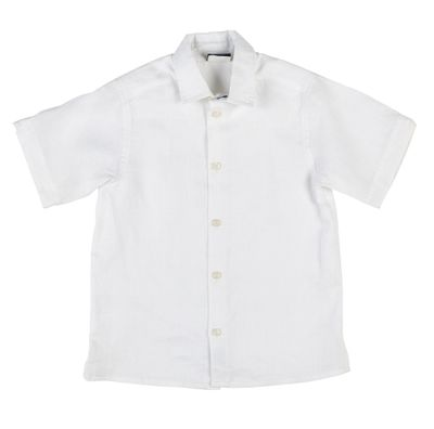 Florence Eiseman Boys Classic White Linen Camp Shirt