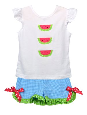 Funtasia Too Girls Turquoise Ruffle Shorts with Bows - White Top with Watermelons