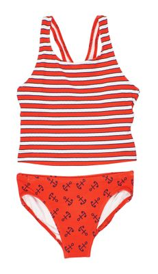Florence Eiseman Girls Red Stripes & Anchor Print Tankini Swimsuit