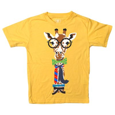 Wes & Willy Baby / Toddler Boys Bold Gold Yellow Giraffe Tee Shirt