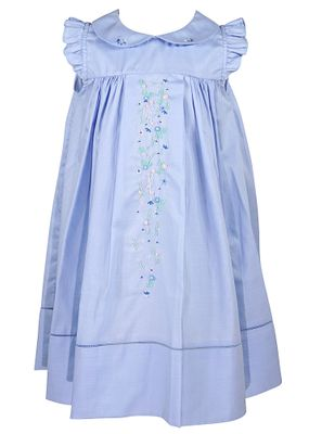 Sophie & Lucas Girls Blue Chambray Embroidered Flowers Dress