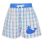 3fdb33d50 Claire & Charlie Baby / Toddler Boys Blue Plaid Whale Swim Trunks