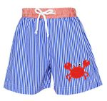 8e3084825 Claire & Charlie Baby / Toddler Boys Royal Blue Stripe / Red Crab Swim  Trunks