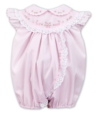 Sarah Louise Baby Girls Pink Bubble - White Eyelet Trim - Floral Embroidery