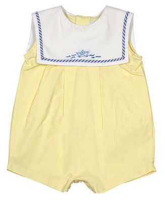 Sophie & Lucas Baby Boys Yellow Bubble with White Sailboat Collar