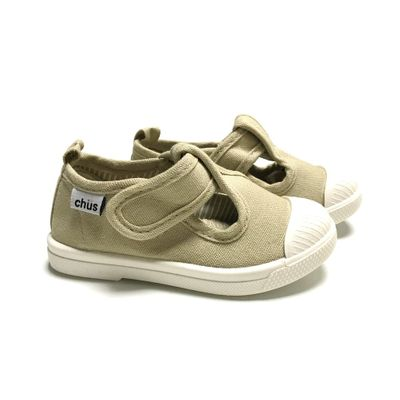 Chus Shoes - Chris Canvas Velcro T-Strap - Tan Khaki