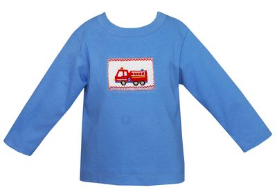 Anavini Toddler Boys Periwinkle Blue Smocked Red Firetruck Shirt