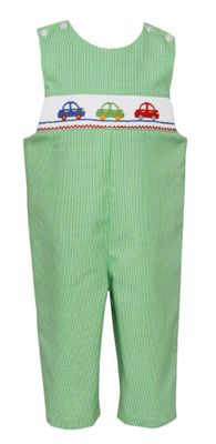 Petit Bebe Baby / Toddler Boys Green Check Smocked Cars Longall