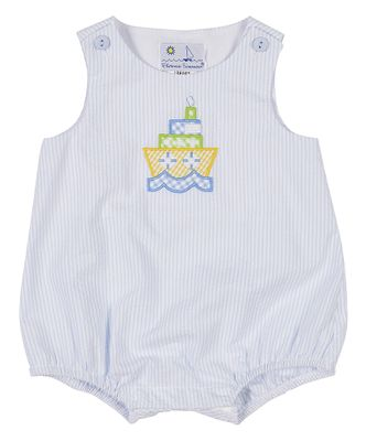 Florence Eiseman Baby Boys Blue Seersucker Bubble with Tugboat