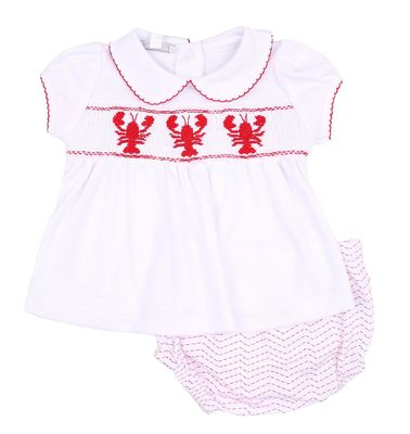 Magnolia Baby Girls Snappy the Lobster Red Smocked Diaper Set