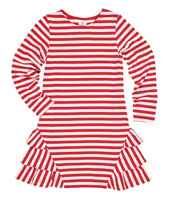 Florence Eiseman Girls Red / White Candy Cane Stripe Knit Dress - Side Ruffles