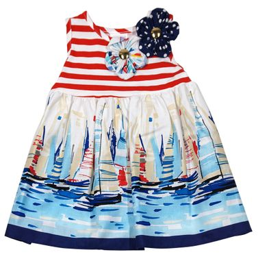 Peaches 'n Cream Baby / Toddler Girls Blue / Red Sailboat Print Dress