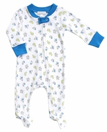 Magnolia Baby Boys Blue Perfect Prince & Castle Zipped Footie