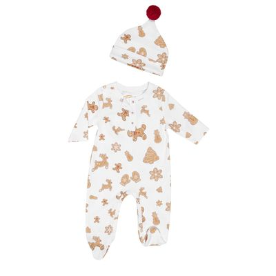 Petidoux Pima Cotton Baby Footie & Hat Set - Christmas Holiday Gingerbread Cookies
