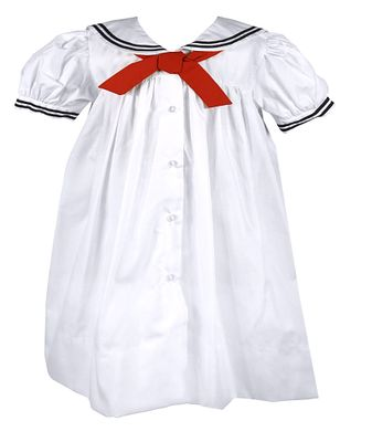 Petit Ami Baby and Toddler Girls Sailor Suit Dresses - White