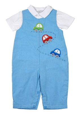 Petit Ami Baby Boys Blue Check Cars Longall with Shirt