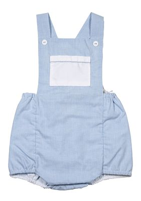 Petit Ami Baby Boys Blue Check Crossback Bubble with Pocket