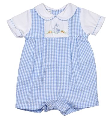 Petit Ami Baby Boys Blue Check Seersucker Embroidered Easter Bunny Romper
