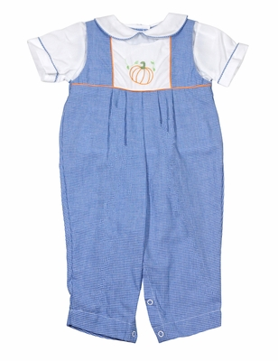 Petit Ami Baby Boys Blue Gingham Romper - Embroidered Pumpkin